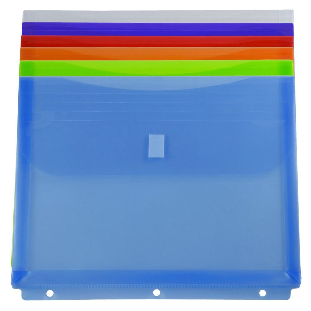 JAM Paper Plastic 3 Hole Punch Binder Envelopes with Hook & Loop Closure - Letter Booklet - 8 5/8 x 11 1/2 with 1 inch Expansion - Assorted Colors - 6/Pack