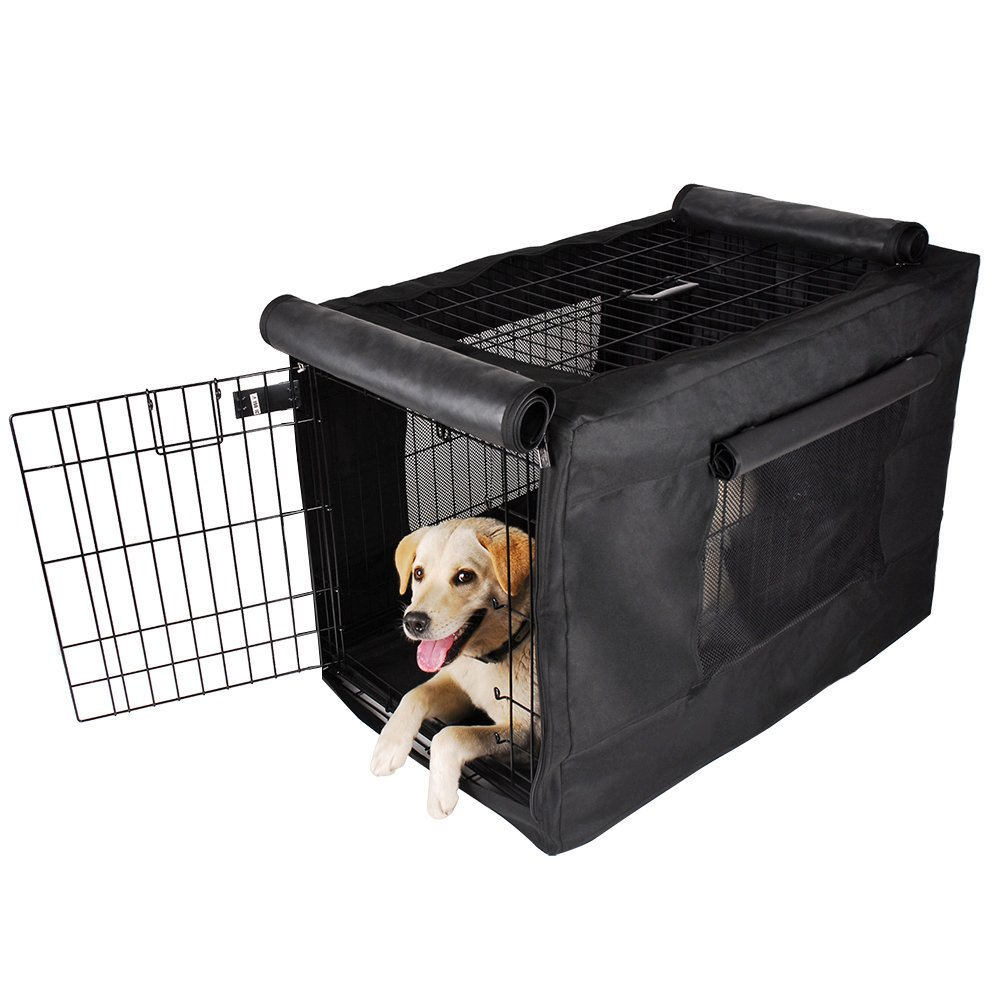 Petsfit 36'' L x 23'' W x 25'' H Black Polyester Crate Cover, for 4000 Wire Crate, One Door