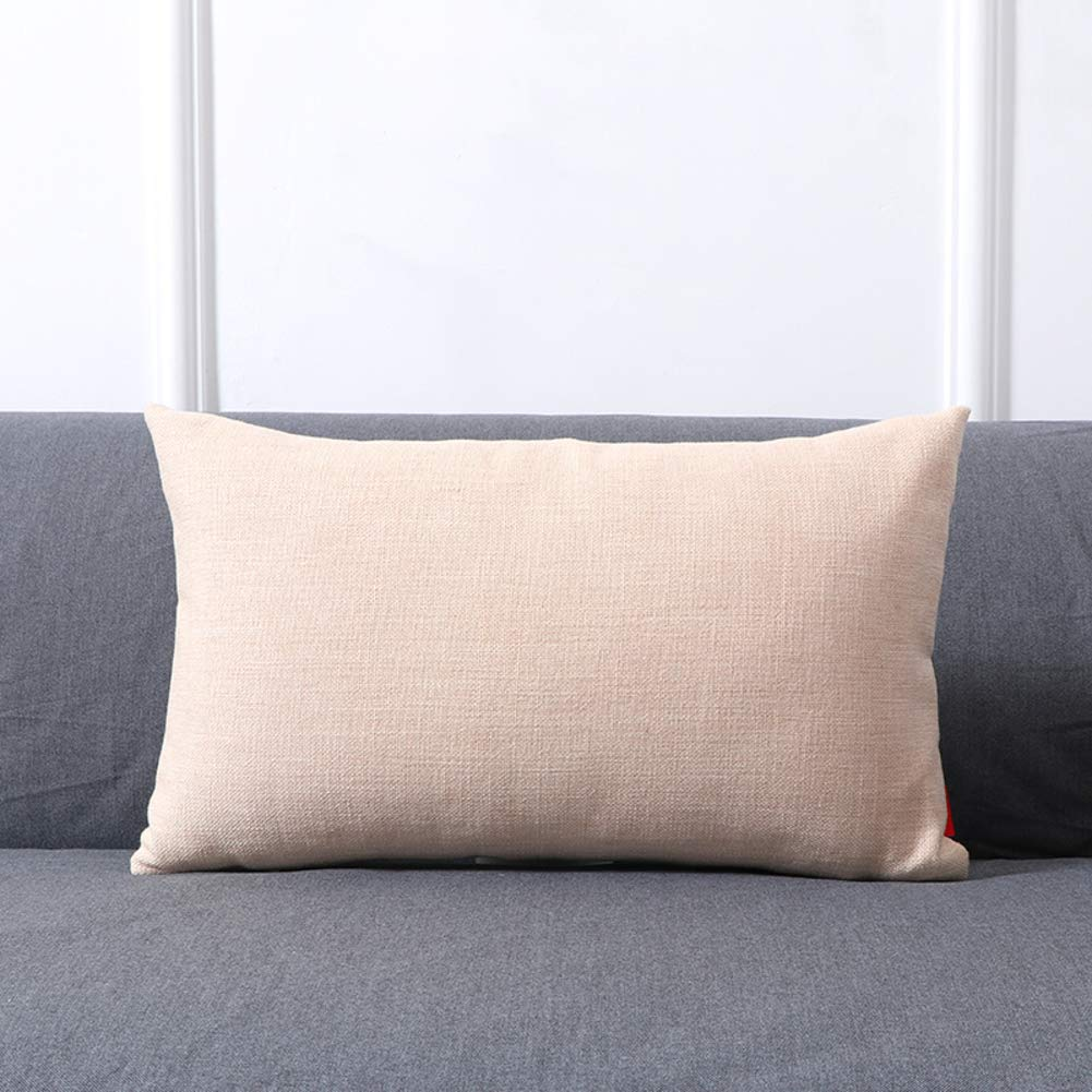 Decor Solid Pillow Inserts with Covers, Lumbar Throw Pillow Sofa Pillow Cushion Rectangular Pillow for Sofa Bed Living Room Office-Cream Color 30x50cm(12x20inch)