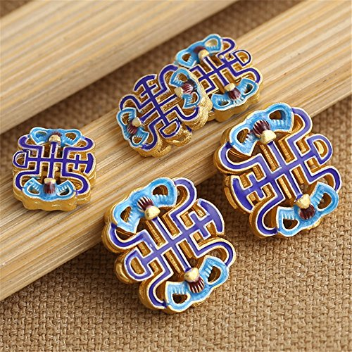 Luoyi 1pc Golden Plated Sterling Silver Flat Beads, Chinese Knot Cloisonne Spacer Beads, Blue (T020L) (Small)