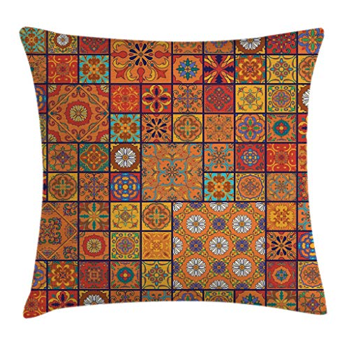 Ambesonne Moroccan Throw Pillow Cushion Cover, Collection of Moroccan Geometric Patterns Floral Ornamental Patchwork Print, Decorative Square Accent Pillow Case, 16 X 16 Inches, Orange Merigold