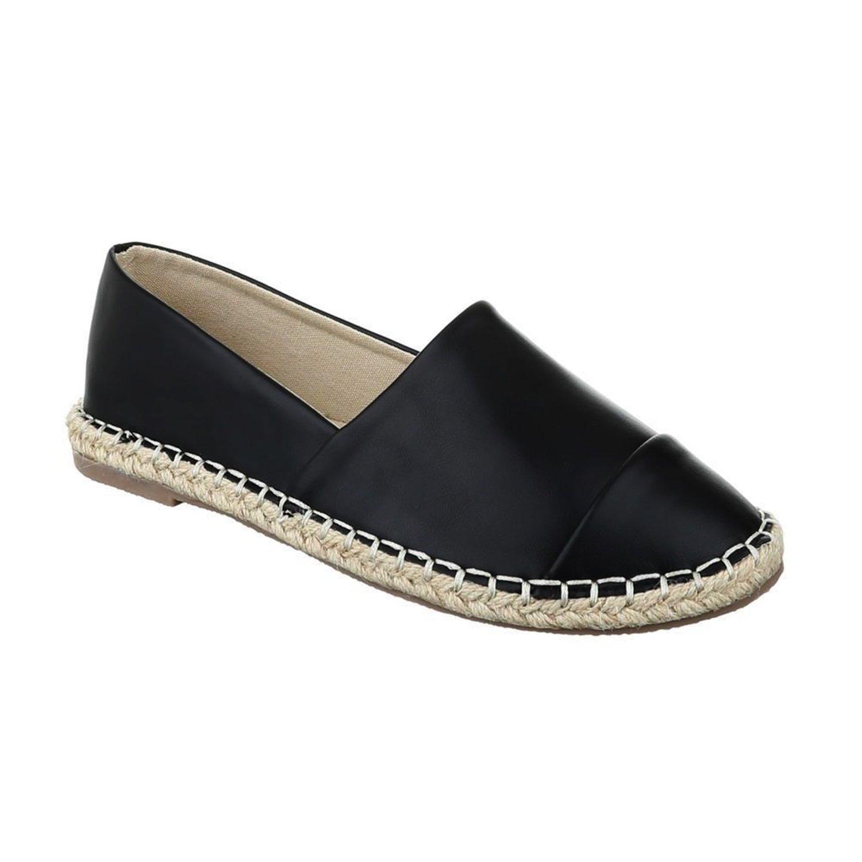 Bequeme Sommer Damen Espadrilles Slipper Flats Sandalen Freizeit Schuhe 732 Schwarz 2