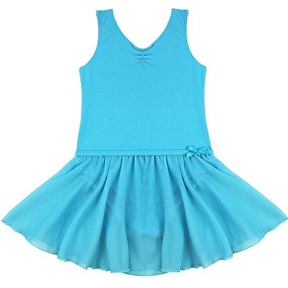 iEFiEL Maillot de Danza Ballet Princesa Tutú para Niña Elástico Vestido Gimnasia con Braguita Interior Azul