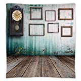 iPrint Super Soft Throw Blanket Custom Design Cozy Fleece Blanket,Clock Decor,A Vintage Clock and Empty Picture Frames in an Old Room Wooden Backdrop,Green and Brown,Perfect for Couch Sofa or Bed