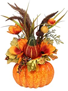 Froomer Thanksgiving Pumpkin Artificial Pumpkin Harvest Decoration Maple Leaf Orange Ornament Bonsai for Home Kitchen Autumn Table Centerpieces Decor Halloween Prop Fall Vegetable Decorations