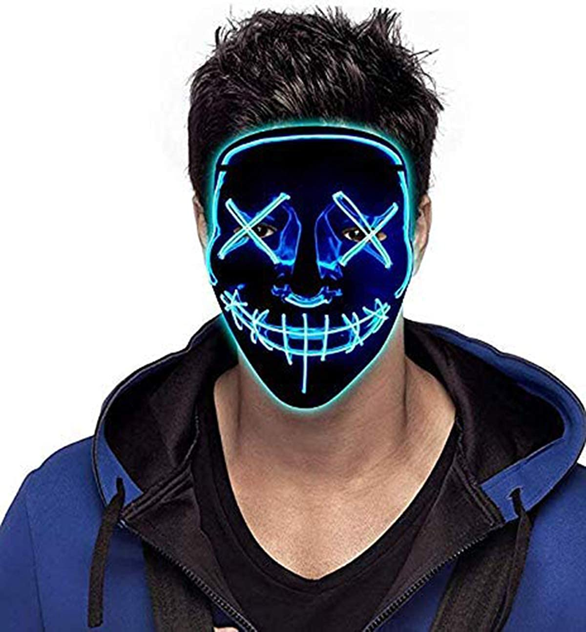Scary Costume Party Decorations EL Wire LED Face Mask Easter Rave Luminous