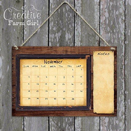 Rustic barn wood dry erase calendar for boys by Creative Farm Girl