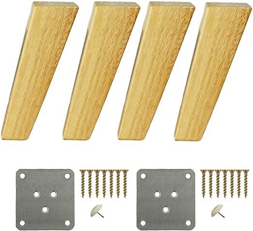 4 patas cuadradas de madera maciza, patas inclinadas para muebles ...