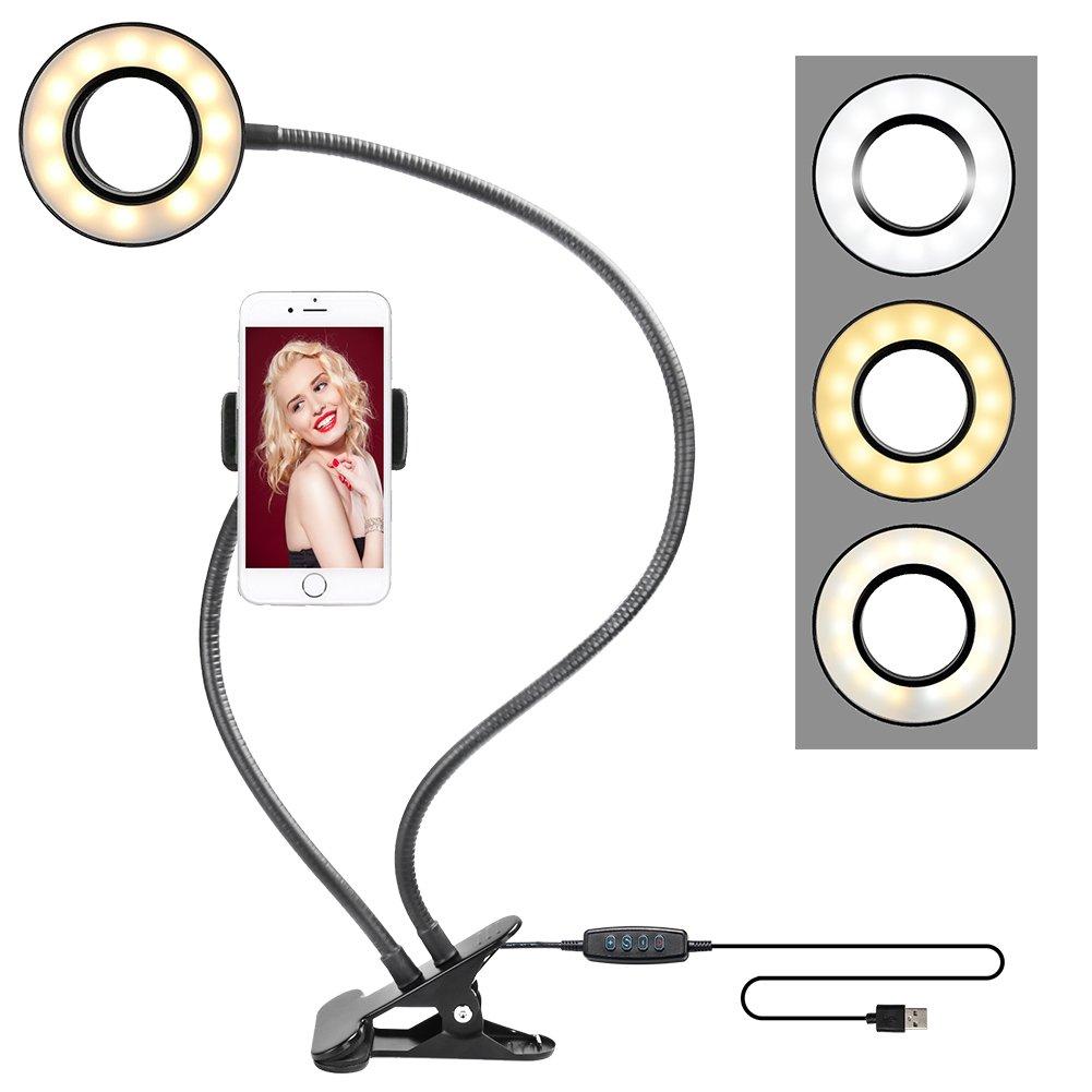 ZOMEi Cell Phone Holder with Selfie Ring Light for Live Stream, Flexible Mobile Phone Clip Holder Lazy Bracket Desk Lamp LED Light for Bedroom, Office, Kitchen, Bathroom-Black