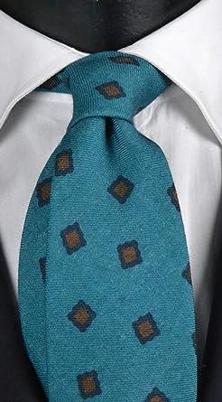 Corbata de hombre de lana verde marino con fantasía azul y marrón ...
