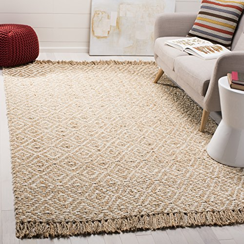 Safavieh Natural Fiber Collection NF266A Hand-Woven Ivory and Natural Jute Area Rug (8' x 10') (Rugs Sunroom)