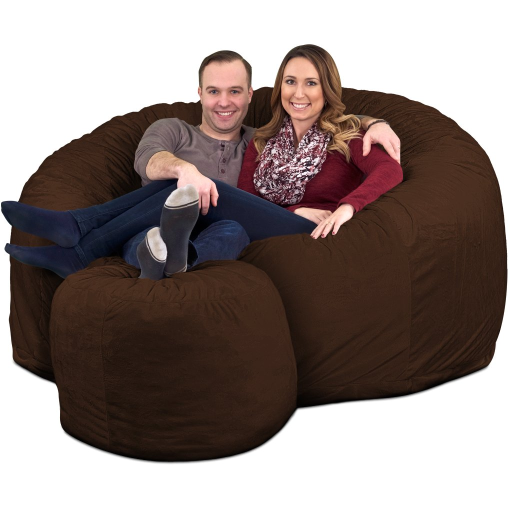 ULTIMATE SACK 6000 Bean Bag Chair w/Footstool: Giant Foam-Filled Furniture - Machine Washable Covers, Double Stitched Seams, Durable Inner Liner, and 100% Virgin Foam. Footstool Includ (Brown, Suede) by ULTIMATE SACK