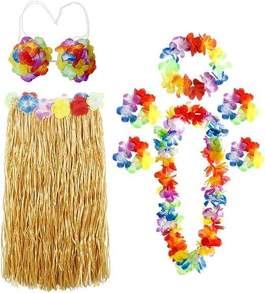 ThinkMax 8 Pcs Hawaii Rock Damen Set mit Blumengirlande Halskette Stirnband Armb/änder Fu/ßkettchen Hawaii Party Kost/üm