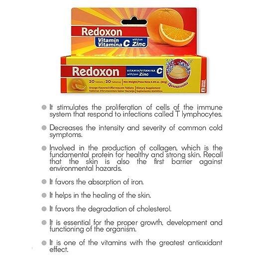 Amazon.com: Orange Flavored Redoxon Effervescent Vitamin C Tablets with Zinc 20 ct: Health & Personal Care