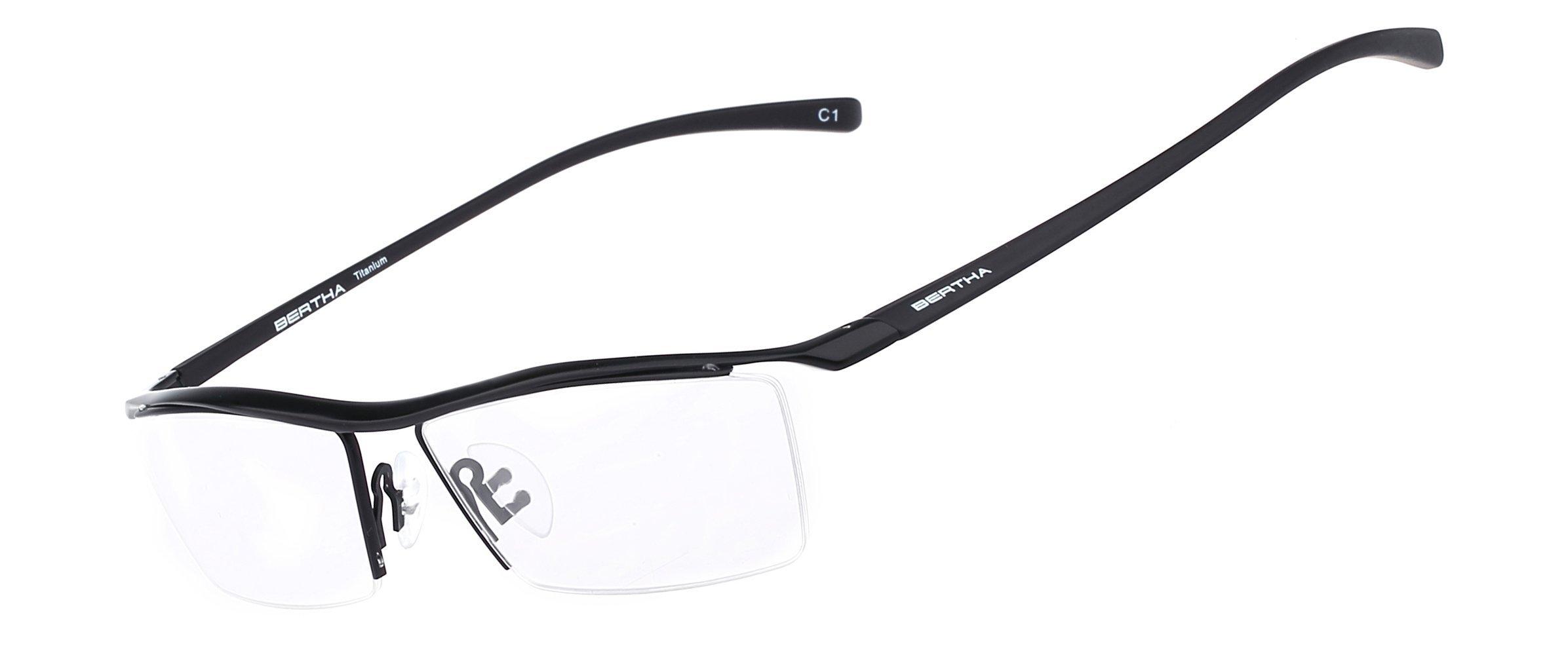 Bertha Men Z Pure Titanium Semi-rimless Eyeglasses Business Optical ...