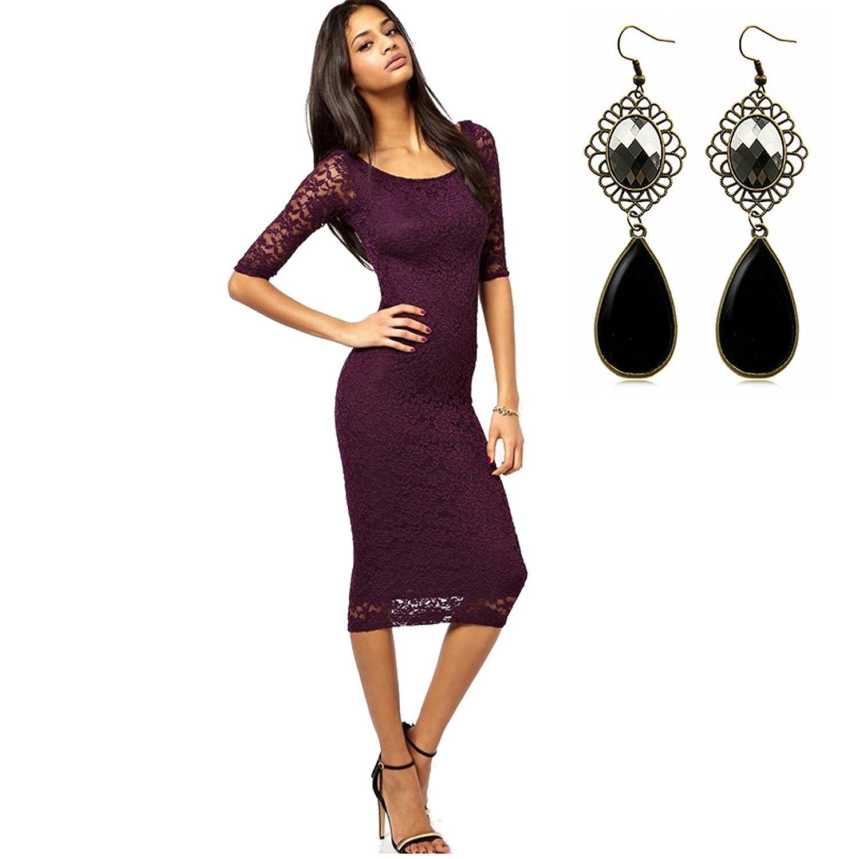 Sitengle Damen Kleid 3/4-Arm Lace Kleider Mini Spitzenkleid Ball-Abendkleid Cocktailkleid Business Kleid Dress