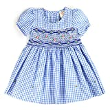 THE SILLY SISSY sissymini - Infant and Toddlers Hand Smocked Dress | Bernadette Briggs's Plaid in Light Blue 3T