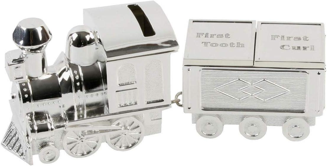 Lime Shop - Caja para dientes de leche y mechones de pelo (metal, bañada en plata), diseño de tren