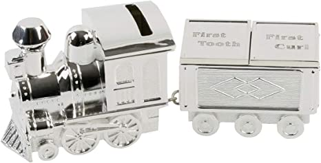 Silverplated Train First Curl /& Tooth Baby Gift Set