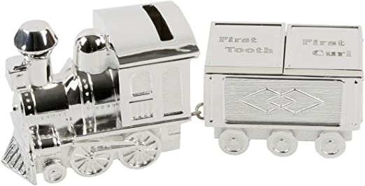 Childrens Train Money Box By Juliana Silver Plated Christening Baby Gift NEW