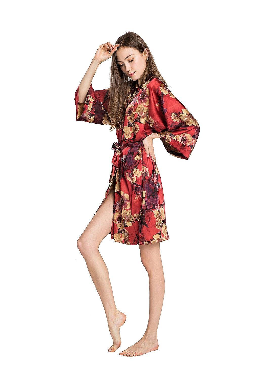 cc0b2052b Old Shanghai Women's Kimono Robe Short - Watercolor Floral, Azumi -Red at  Amazon Women's Clothing store: