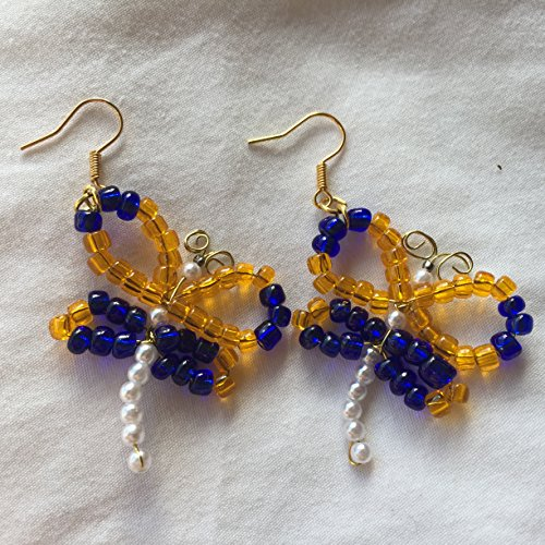 - Bright Orange and Blue Beaded Dragonfly Earrings