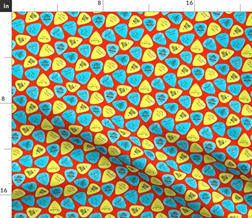 Yellow Red And Blue Guitar Picks Fabric - Infrared Plectrum Retro Rock Music Fender Room Roll Boys Print on Fabric by the Yard - Modern Jersey - for Fashion Apparel Clothing with 4-Way Stretch