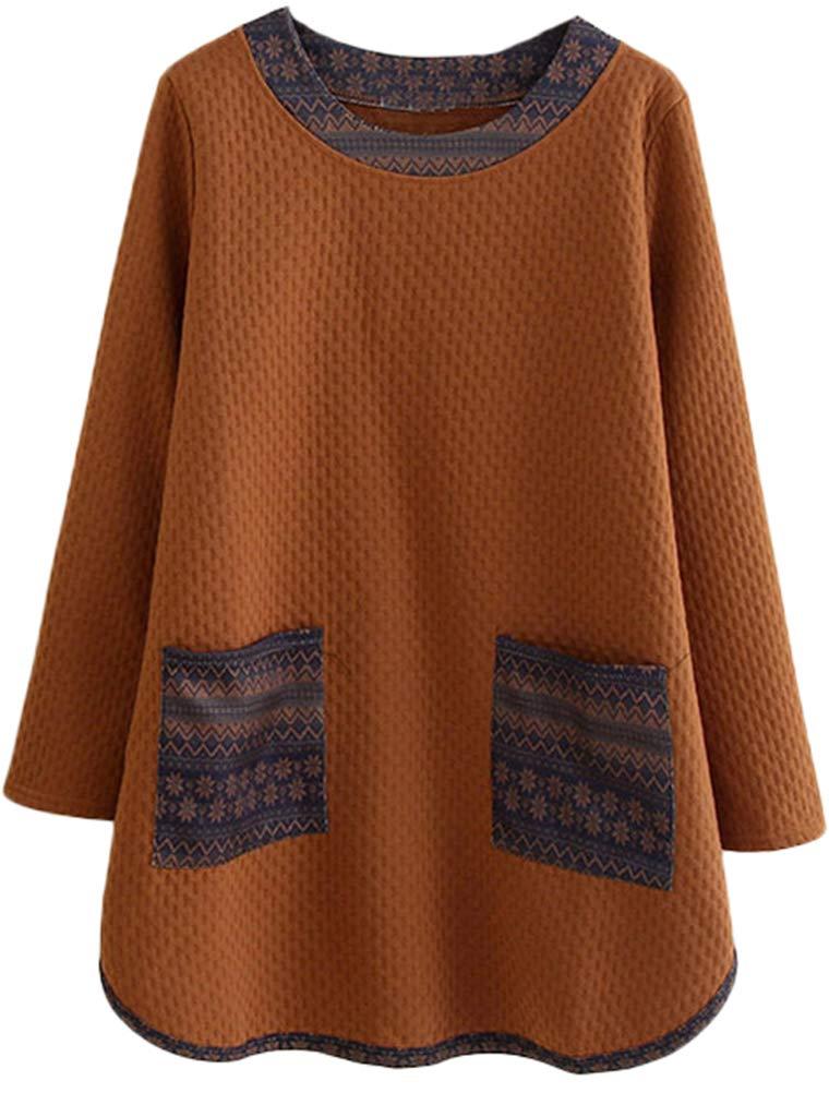 Mordenmiss Women's Casual Long Sweatshirt Flower Printed T-shirt Dress L Brown