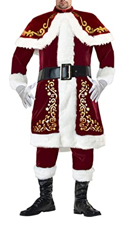 d4d02d86c98d Amazon.com  Lusiya Men s Plus Size Santa Christmas Costume Dark-red   Clothing