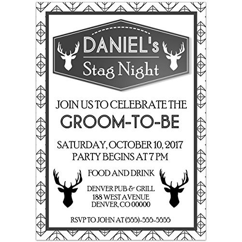 Amazon Com Stag Night Bachelor Party Invitations Handmade