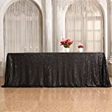 3e Home 60×102'' Rectangle Sequin TableCloth for Party Cake Dessert Table Exhibition Events, Black