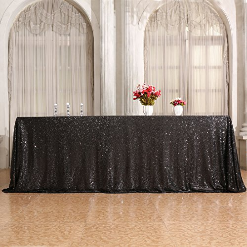 3E Home 60×120'' Rectangle Sequin TableCloth for Party Cake Dessert Table Exhibition Events, Black