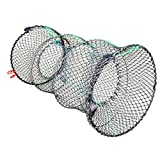"Jmkcoz 1PC Crab Trap Crawfish Lobster Shrimp Collapsible Cast Net Fishing Nets 10"" x 17.7"" (25cm x 45cm) Black Portable Folded Fishing Accessories"