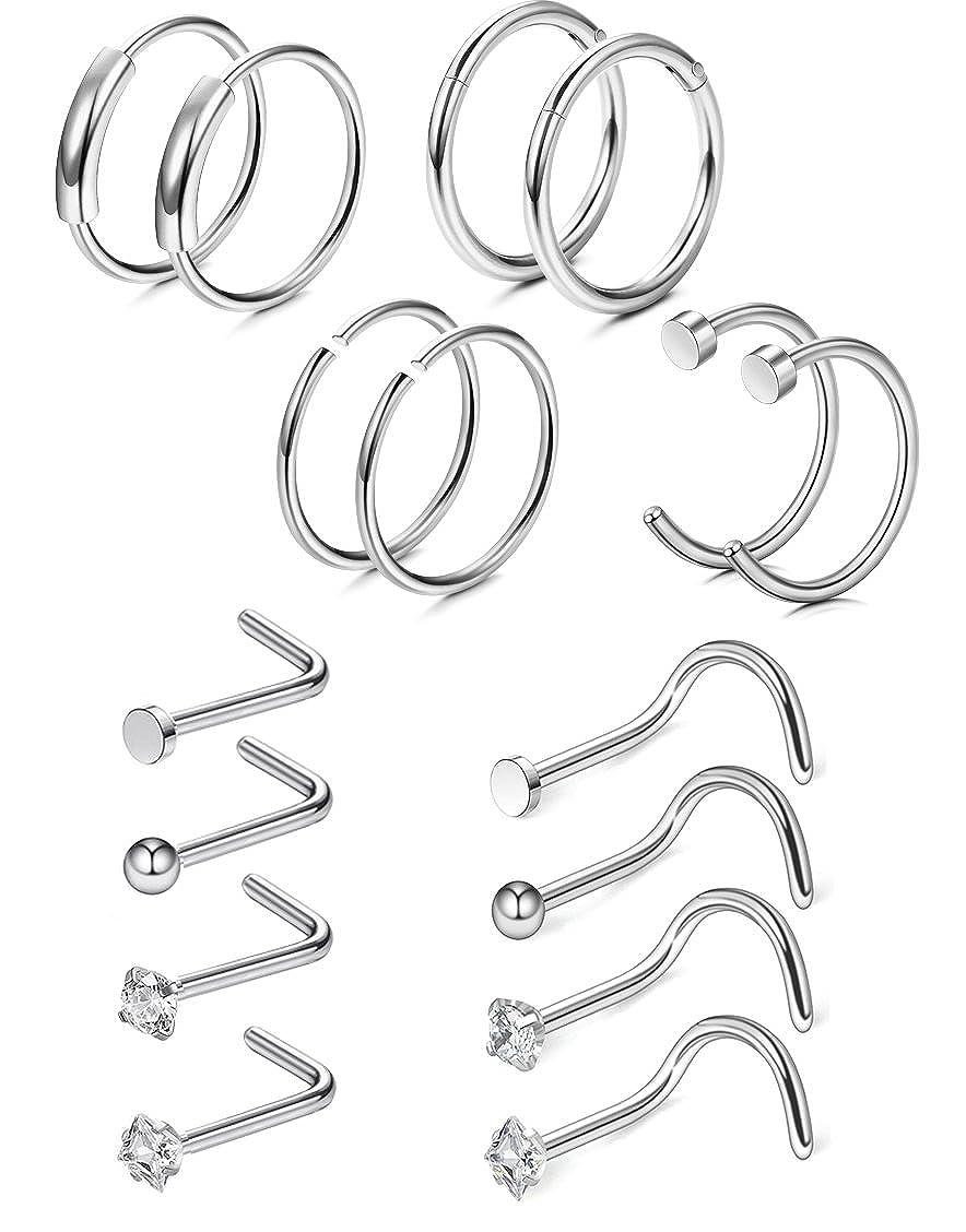 FIBO STEEL 9-84 Pcs 20G Nose Rings Hoops Stainless Steel Screw Stud Rings Piercing Jewelry CZ Inlaid FBCC-P048SET-S