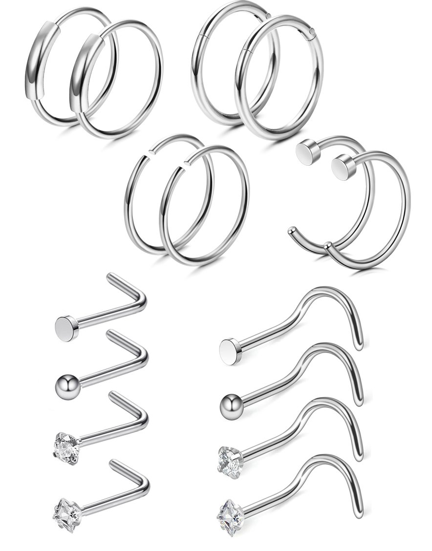 FIBO STEEL 16 Pcs 20G Nose Rings Hoops Stainless Steel Screw Stud Rings Piercing Jewelry CZ Inlaid Silver-tone