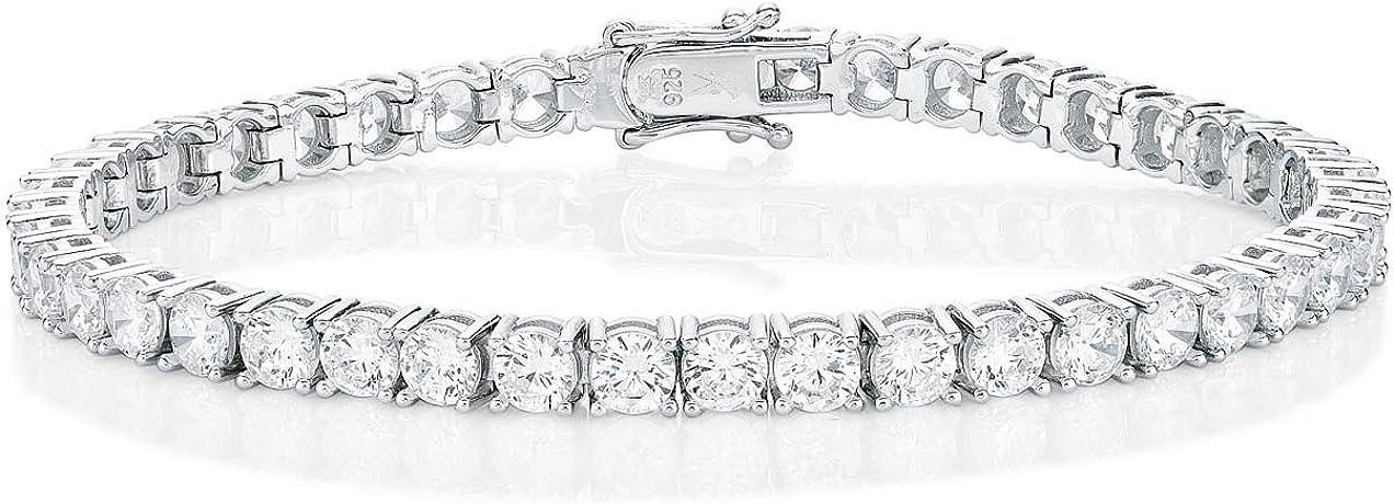 Pulsera estilo tenis Diamond Treats, PLATA ESTERLINA 925 sólida con brillante circonita blanca cúbica grado AAA de 4mm. Esta pulsera Eternity es el regalo perfecto para ella.