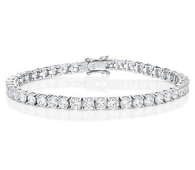4mm White Cubic Zirconia Double Tennis Bracelet Bride Bridesmaid Wedding Anniversary Jewellery McELhhjo