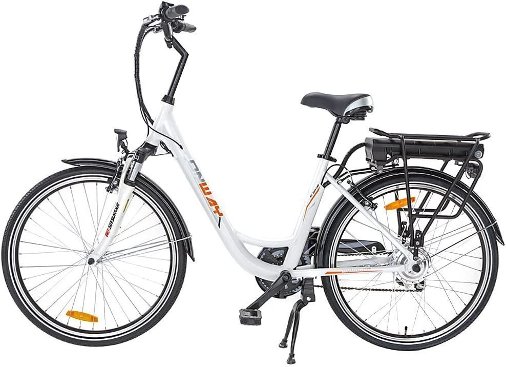 Onway 26 Inch 6 Speed Woman City Electric Bicycle, 36V 250W Aluminium Alloy E Bike with Pedal Assist and Twist...