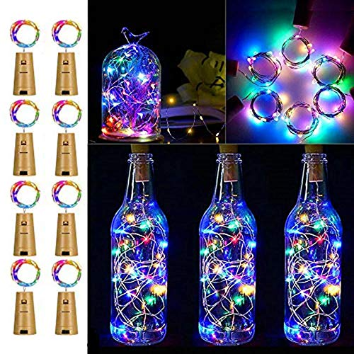 Wine Bottle Lights with Cork, 8 Pack Battery Operated LED Cork Shape Silver Copper Wire Colorful Fairy Mini String…