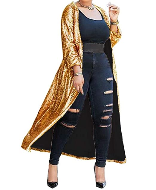 44d41edc066 Women s Light Weight Shiny Open Front Sequin Maxi Cardigan at Amazon ...