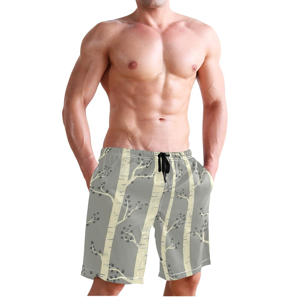 COVASA Mens Summer ShortsGrey Birch Tree Branches Vintage Bohemian Contemporar