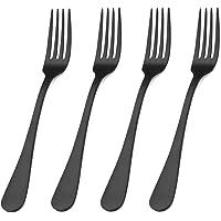 Matte Black Stainless Steel Dessert Forks with Round Edge, Set of 4 (Matte Black Dessert Fork, 4-Piece)