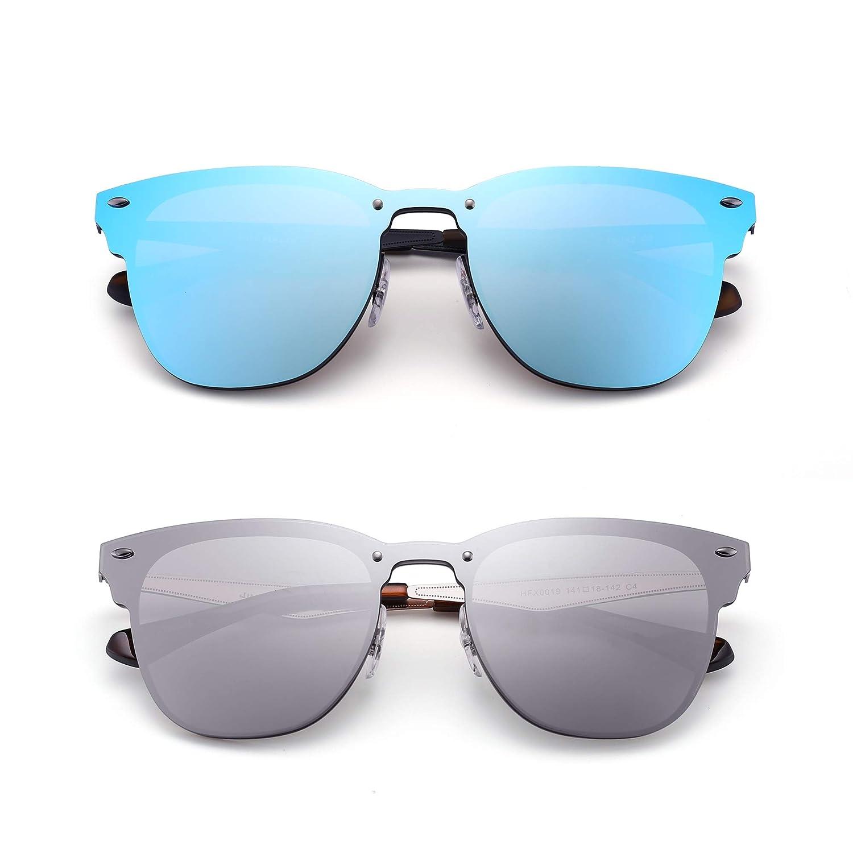 JIM HALO Randlos Spiegel Sonnenbrille Ein Stück Gehörnt Umrandet Metall Brille Damen Herren