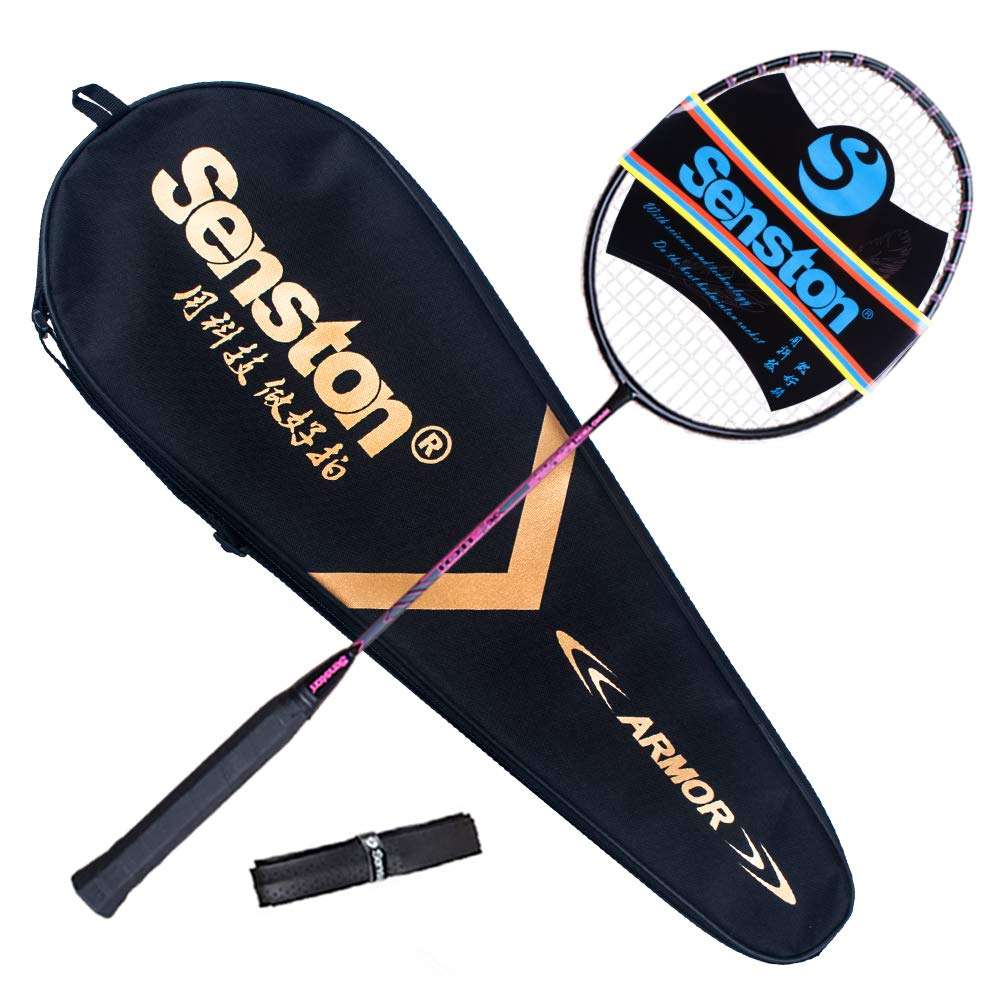 Senston X310 Graphite Badminton Racket New String Protected Technology Single High-Grade Badminton Racquet Pink with Racket Cover and Overgrip