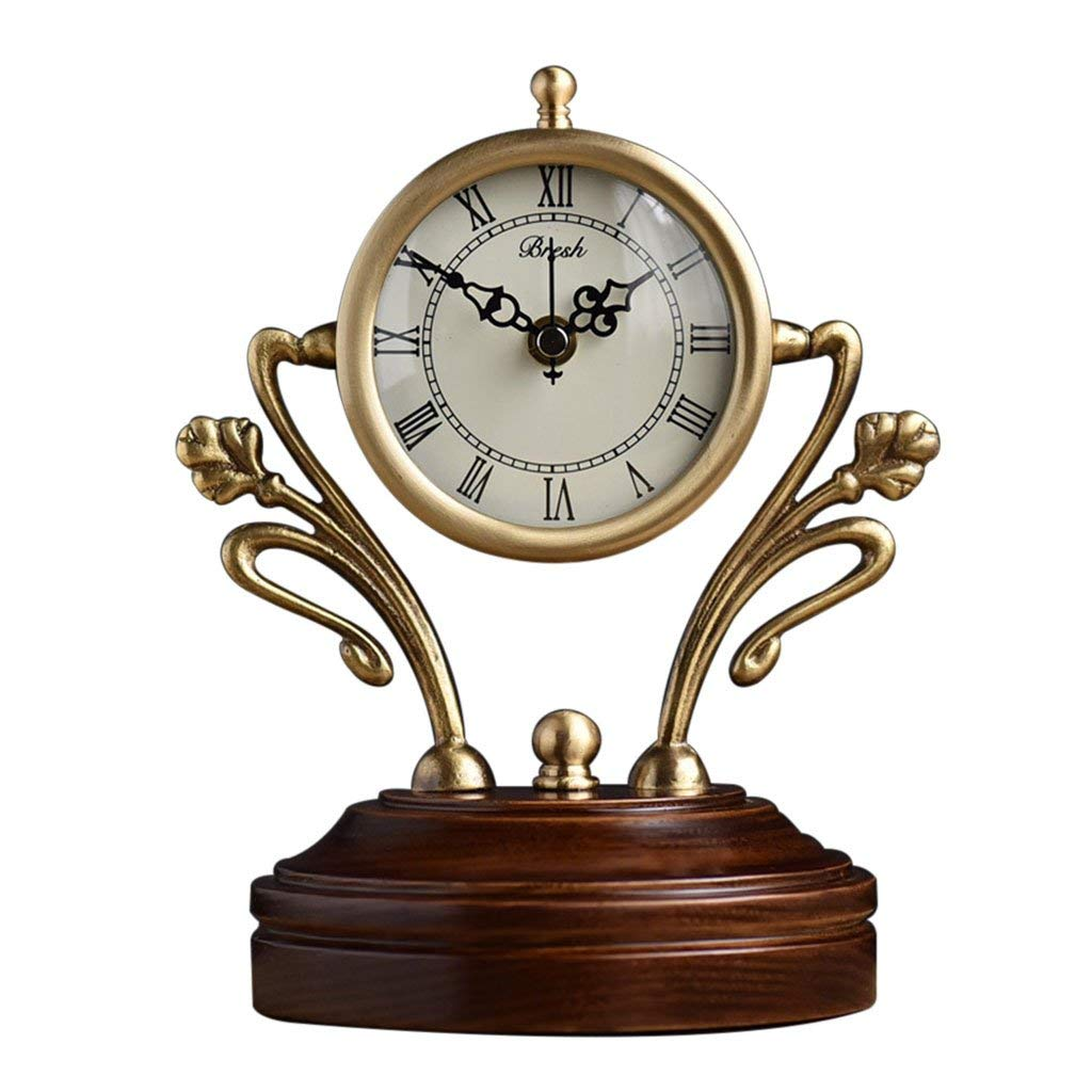 Amazon.com : Family Fireplace Watches European Style Copper Table Clock, Modern Silent Decorative Living Room Desk Clock, Solid Wood Suitable for Living ...