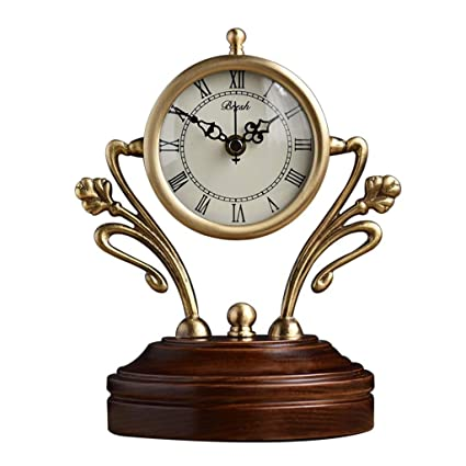 Family Fireplace Watches European Style Copper Table Clock, Modern Silent Decorative Living Room Desk Clock