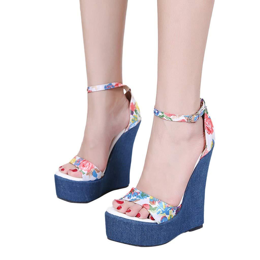 Women High Heels Platform Sandals Open Toe Ankle Strap Wedge Block Heel Shoes (Blue, US:5.0)