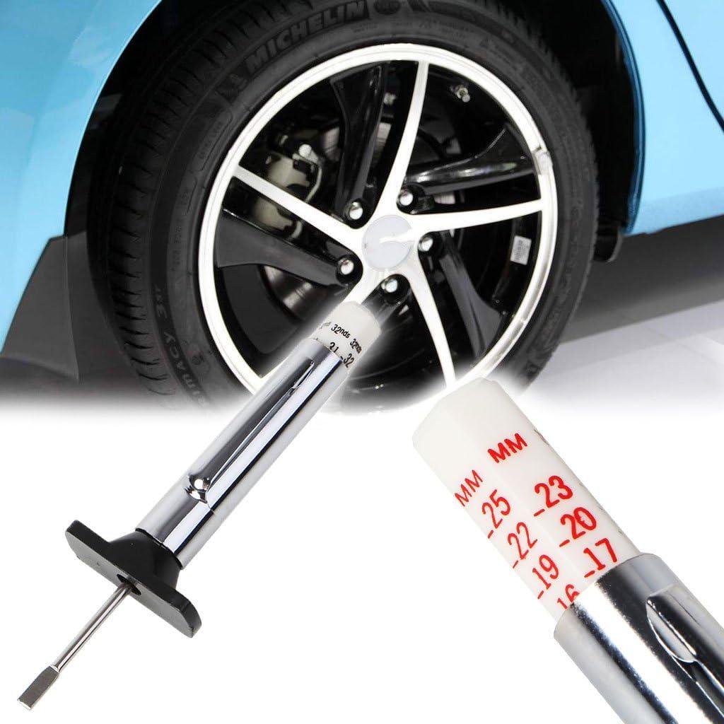 BIlinli Vehicle Motor Tyre Rubber Tread Depth Gauge Metric Standard Measure Tester Wear