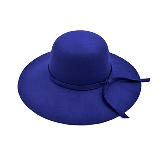 TrendsBlue Women s Premium Felt Wide Brim Floppy Hat 136cee4a41d2