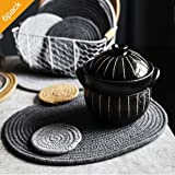 ZKZNsmart Natural Thermal Tripod Oval Placemats Hand Knitting of Cotton Coaster Set Non-Slip Heat Insulation Meal Mats…